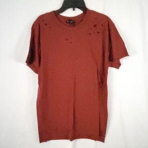 BLACK ORCHID Distressed Short Sleeve Tee Shirt
